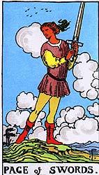 Pagem de Espadas - Rider Waite Tarot