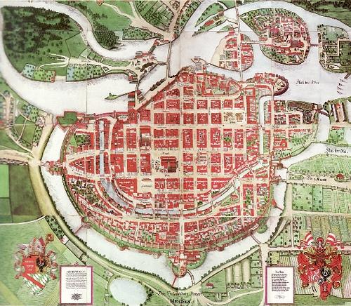 Mapa de cidade lembrando um coração