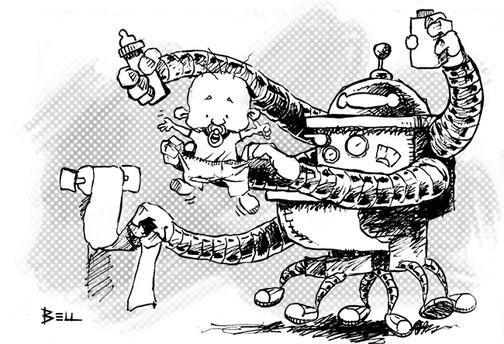 Robô trocando fraldas de bebê