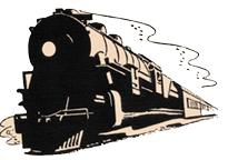 em desenho, trem se aproximando