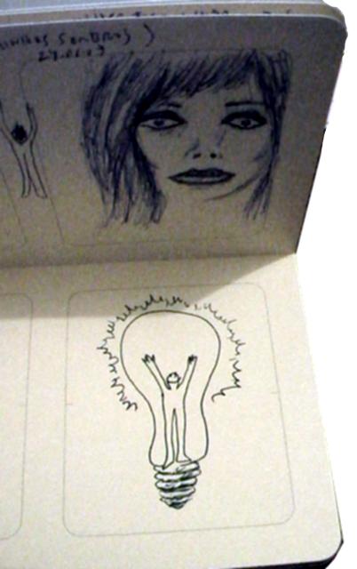 Moleskine com desenho de mulher sombria e homem-lampada