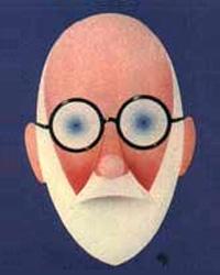 Cabeça parecida com Freud em cartaz