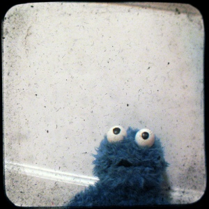 muppet azul com cara de bobo