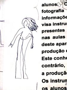 Pessoa desenhada ao lado de texto incompleto