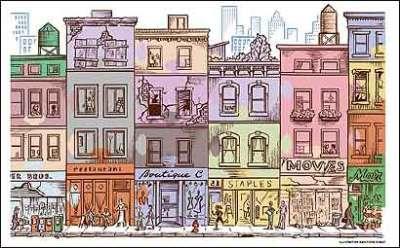Ilustracao colorida de cidade, uma rua frontal