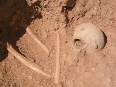 Chão de terra com caveira semi enterrada