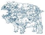 desenho de monstro feito de outros animais