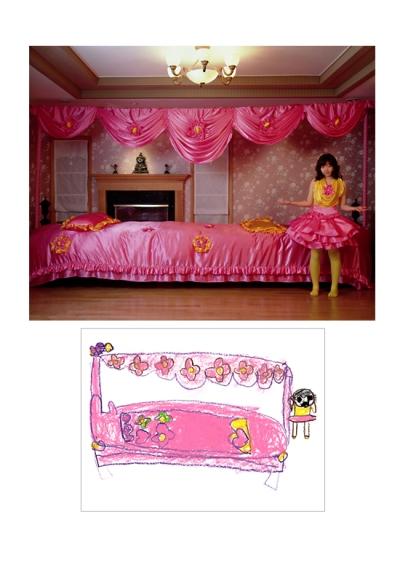 quarto rosa, desenho de criança recriado em foto