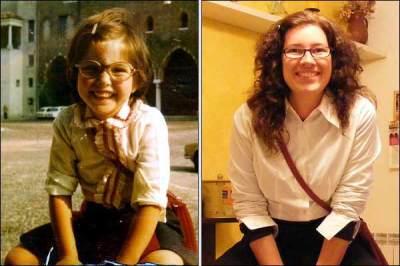 foto da mesma mulher, criança e adulta, sorrindo