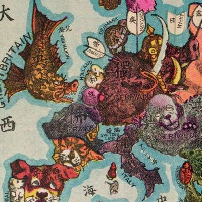 mapa da europa como vários animais