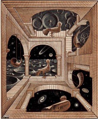 Falcão e torre 3 dimensões na Lua,  Escher
