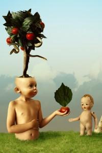 homem árvore oferecendo fruto a criança