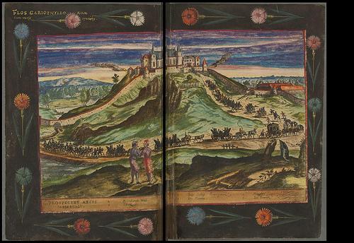 iluminura medieval mostrando cidade no topo de morro e coluna de pessoas indo para lá