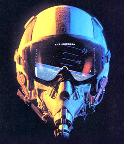 capacete de piloto de caça refletindo a Terra