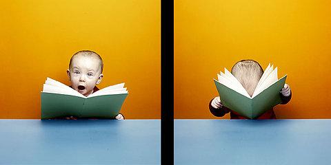 crianca pequena lendo um livro