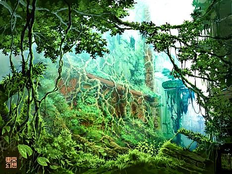 metropole coberta por floresta selvagem