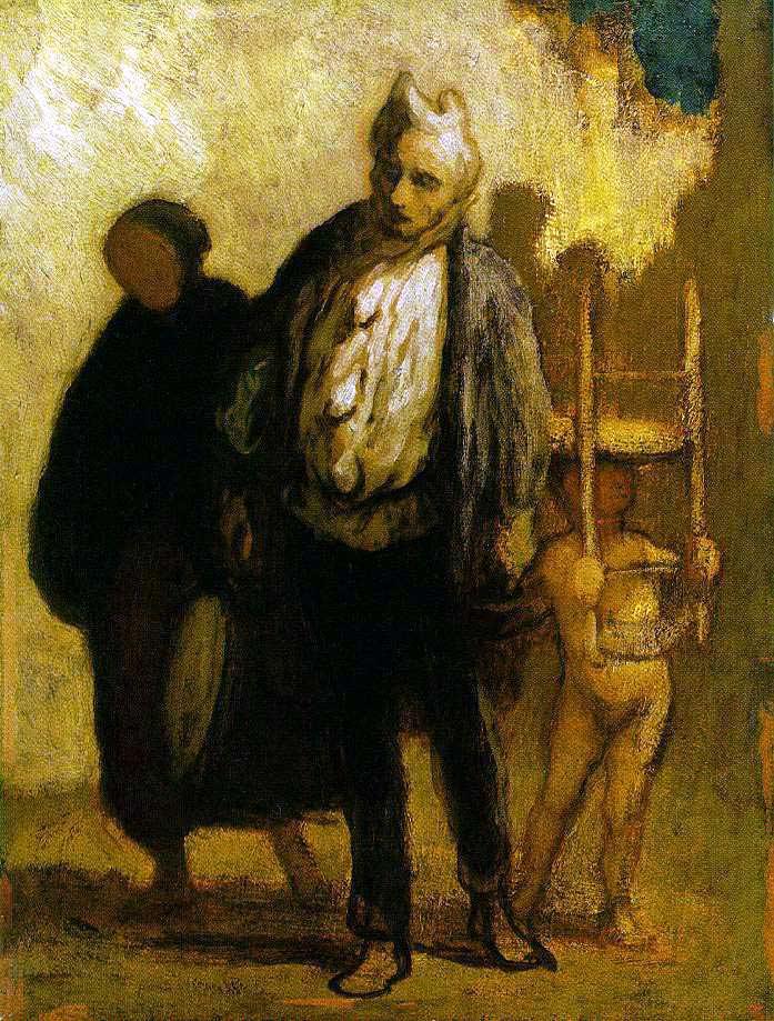 Pintura em tons de amarelo com detalhe azul, de Honoré Daumier, retratando três figuras um tanto grotescas, uma criança nua com uma cadeira na cabeça, um homem com um tecido do rosto e uma velha com um capuz negro e sem rosto
