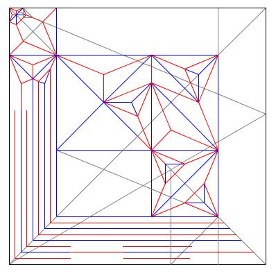 Papel quadrado com linhas retas cruzando, diagrama de um origami desdobrado