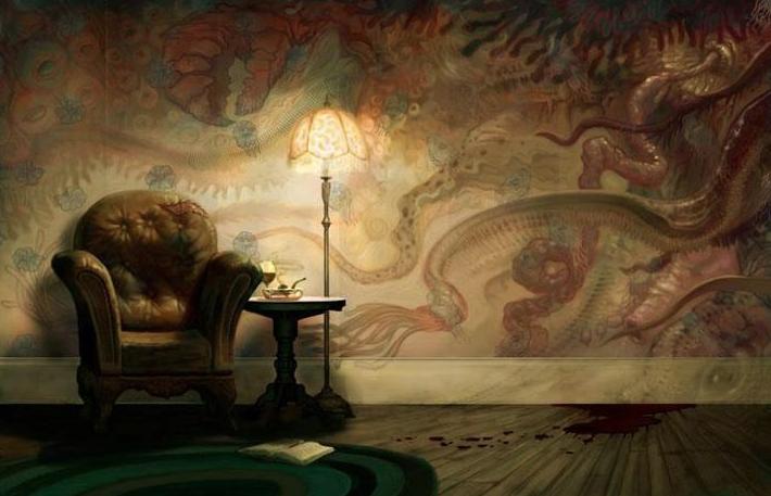 Poltrona antiga, confortável com abajur ligado ao lado e uma parede atrás coberta com um papel de parede com montrons e tentáculos e uma mancha de sangue no chão, ao lado da poltrona