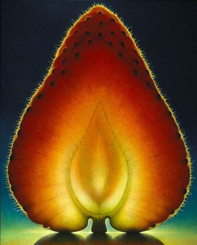 morango cortado ao meio revelando sua estrutura interna e colorida