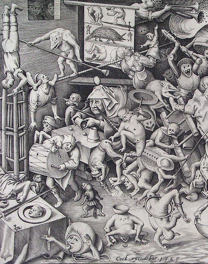 Gravura de Brueguel mostrando seres infernais atormentando pessoas