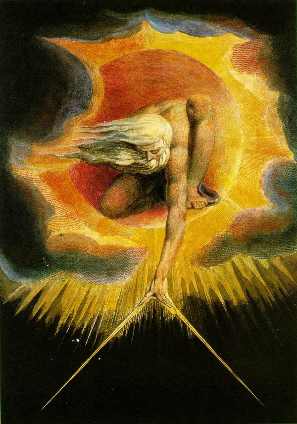 Gravura de William Blake mostrando Deus dentro do Sol olhando para baixo e segurando um compasso