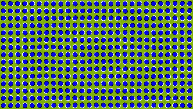ilusão de ótica, bolinhas azuis num fundo verde parecem estar se movendo mas não estão