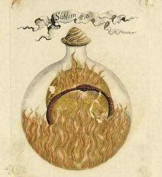 Imagem medieval mostrando uma cobra mordendo o próprio rabo dentro de uma garrafa circular tampada e com fogo dentro