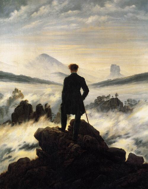 Pintura famosa mostrando um maestro em cima de uma montanha, de costas, olhando as nuvens no vale abaixo