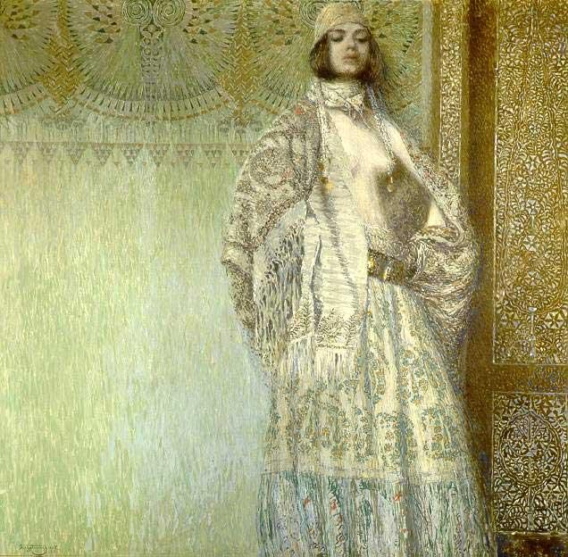 Quadro realista de uma mulher num vestido branco luminoso em frente ao um fundo amarelo também brilhante, pintura a oleo