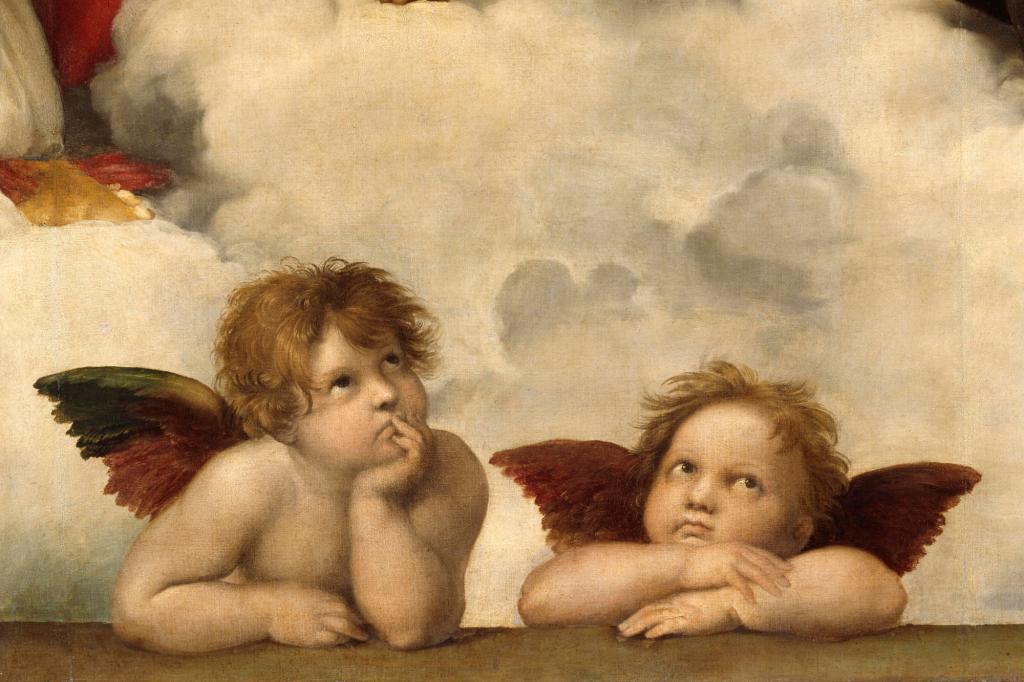 Dois anjinhos com cara de entediados pintados por Rafaelo Sanzio na Capela Sistina