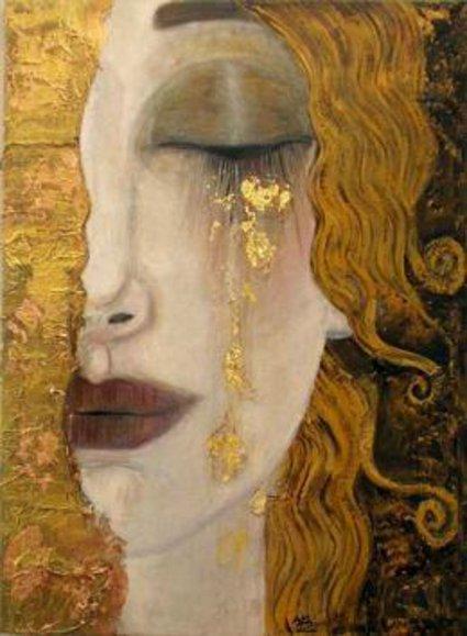Retrato de mulher loura chorando, por Klimt