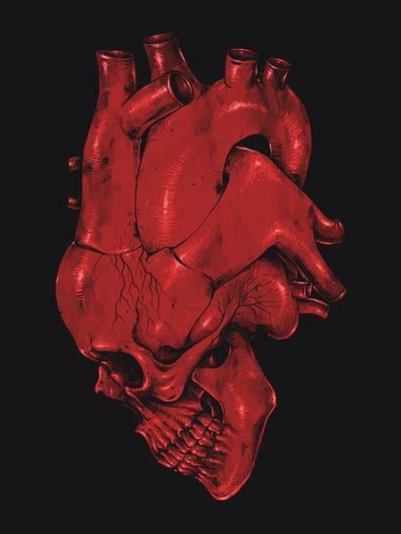 Crânio fundido a um coração visto de perfil